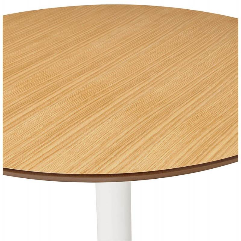 Table de repas ronde design scandinave GALON en bois et métal peint (Ø 120 cm) (naturel, blanc) - image 27988