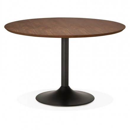 Table de repas ronde vintage scandinave GALON en bois et métal peint (Ø 120 cm) (noyer, noir)