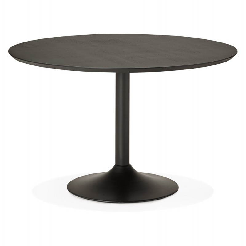 table de repas ronde design galon en bois et m tal peint 120 cm noir. Black Bedroom Furniture Sets. Home Design Ideas