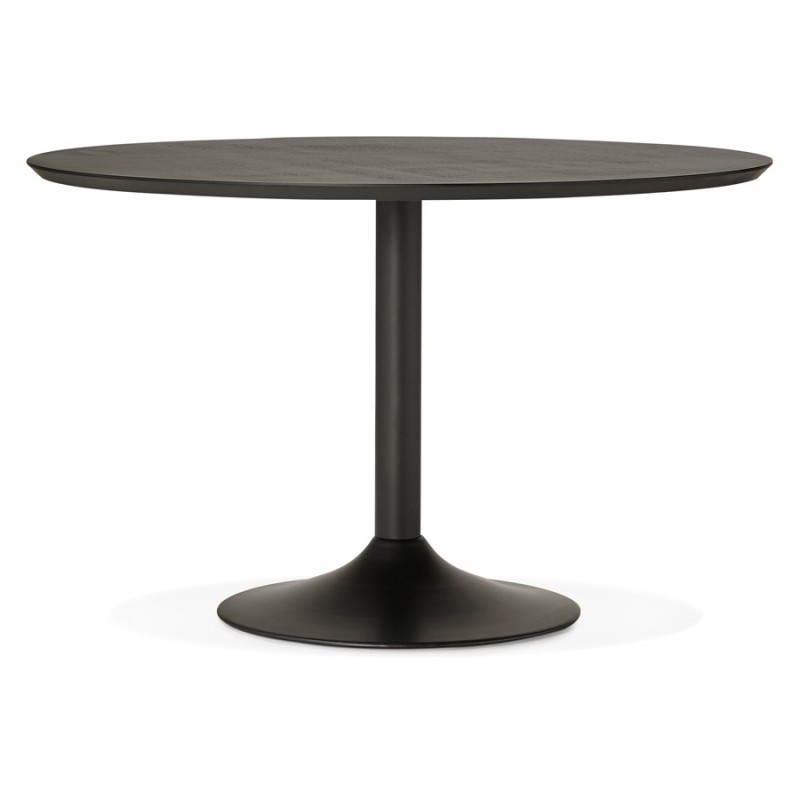 Table de repas ronde design galon en bois et m tal peint for Table de repas ronde