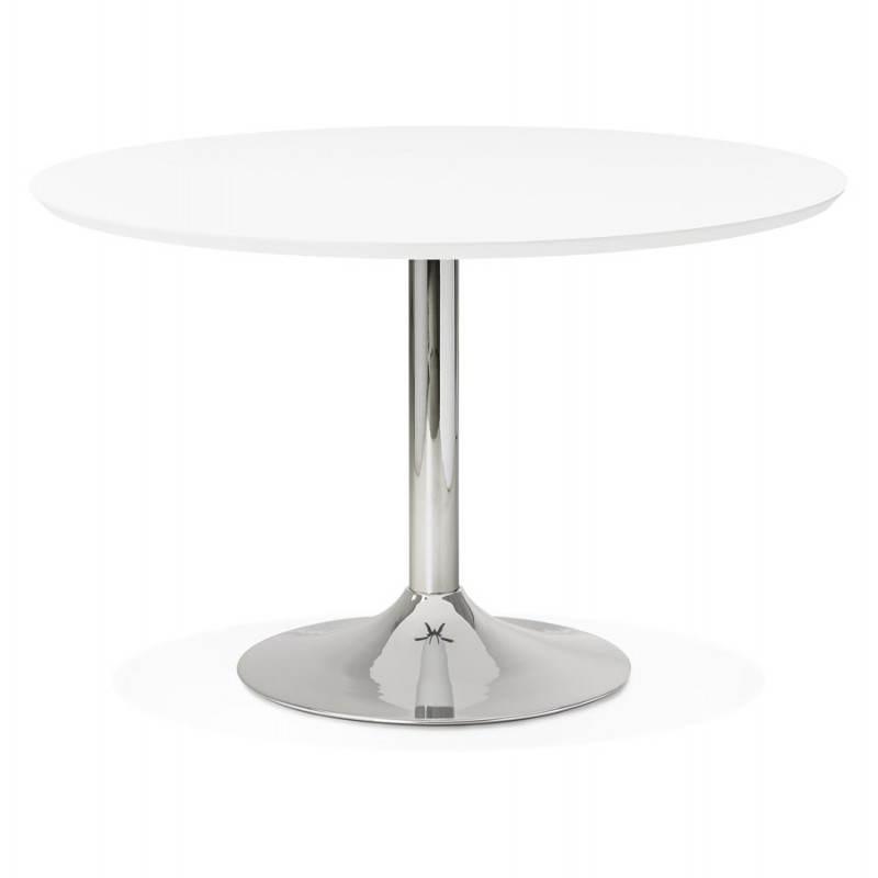 Table de repas design ronde GALON en bois et métal chromé (Ø 120 cm) (blanc, métal chromé) - image 28015