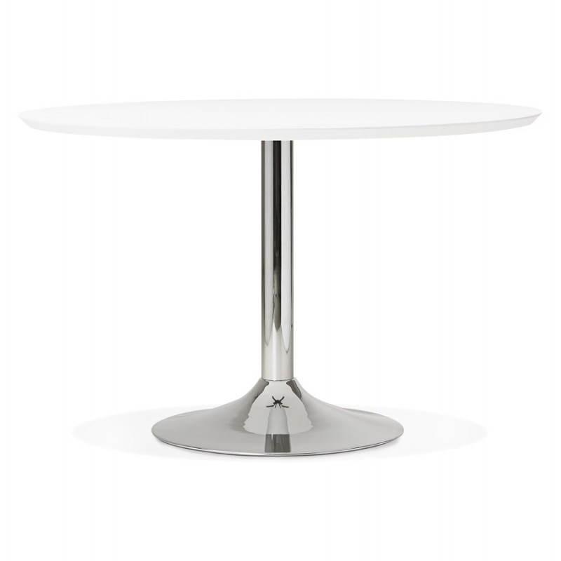 Table de repas design ronde galon en bois et m tal chrom 120 cm blanc - Table ronde bois et metal ...