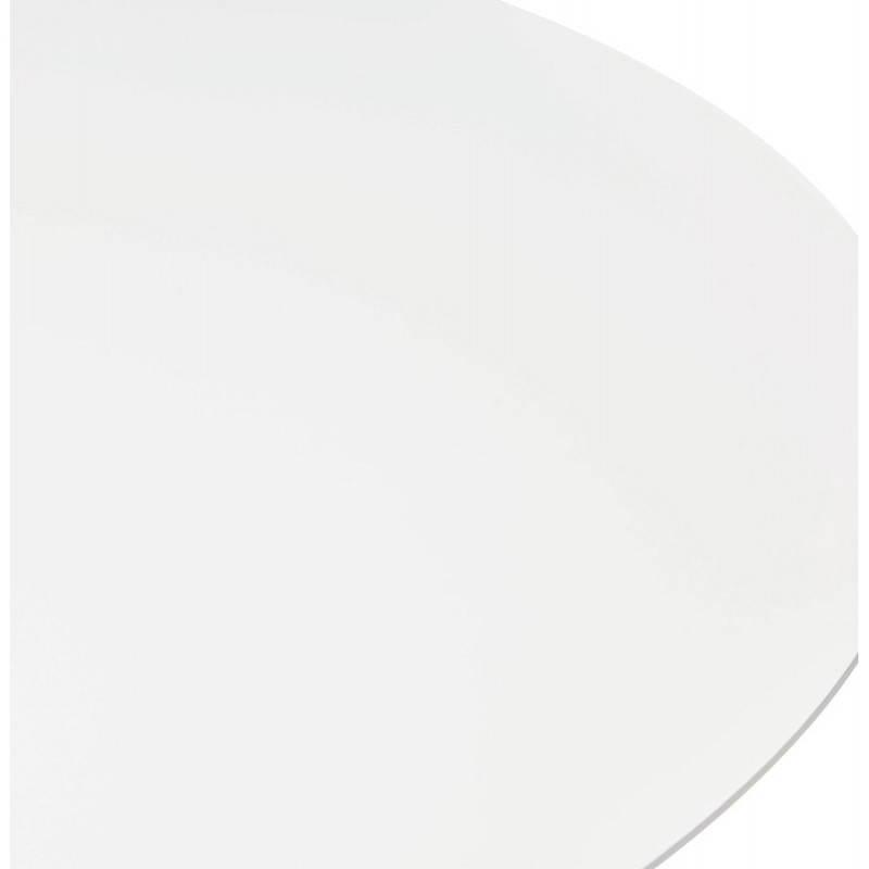 Table de repas design ronde GALON en bois et métal chromé (Ø 120 cm) (blanc, métal chromé) - image 28018
