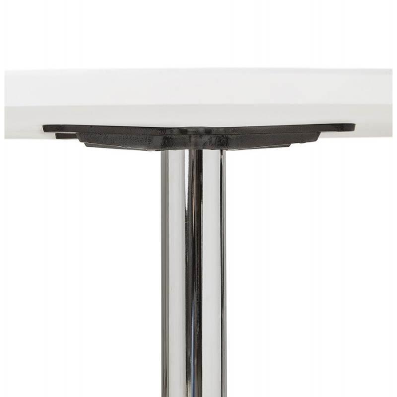 Table de repas design ronde GALON en bois et métal chromé (Ø 120 cm) (blanc, métal chromé) - image 28021