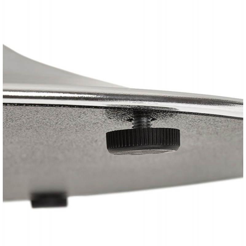 Table de repas design ronde GALON en bois et métal chromé (Ø 120 cm) (blanc, métal chromé) - image 28023