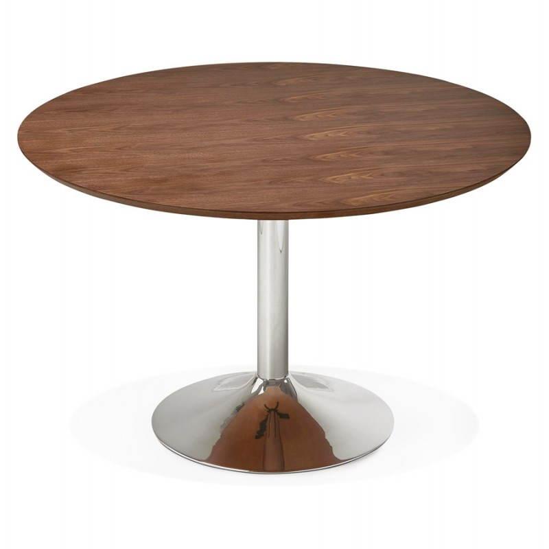 Table de repas design ronde GALON en bois et métal chromé (Ø 120 cm) (noyer, métal chromé) - image 28027