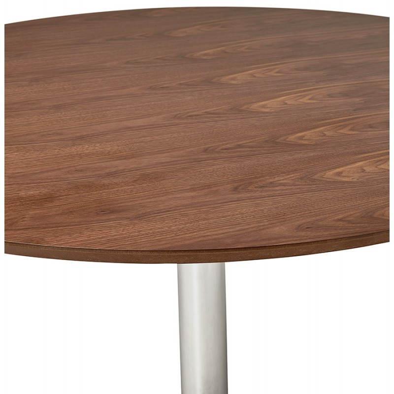 Table de repas design ronde GALON en bois et métal chromé (Ø 120 cm) (noyer, métal chromé) - image 28029
