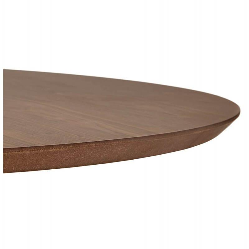 Table de repas design ronde GALON en bois et métal chromé (Ø 120 cm) (noyer, métal chromé) - image 28030
