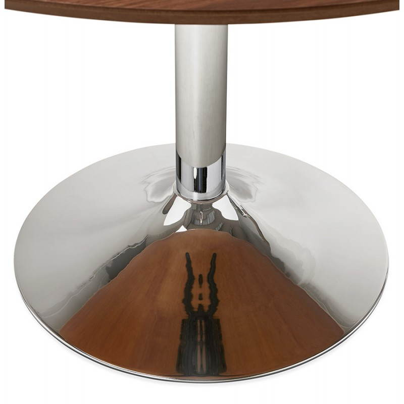 Table de repas design ronde GALON en bois et métal chromé (Ø 120 cm) (noyer, métal chromé) - image 28032
