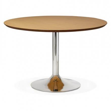 Table de repas design ronde GALON en bois et métal chromé (Ø 120 cm) (naturel, métal chromé)