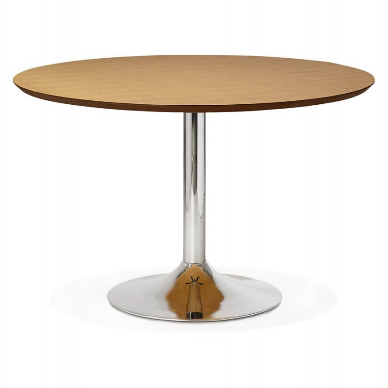 Table de repas design ronde galon en bois et m tal chrom for Table repas ronde