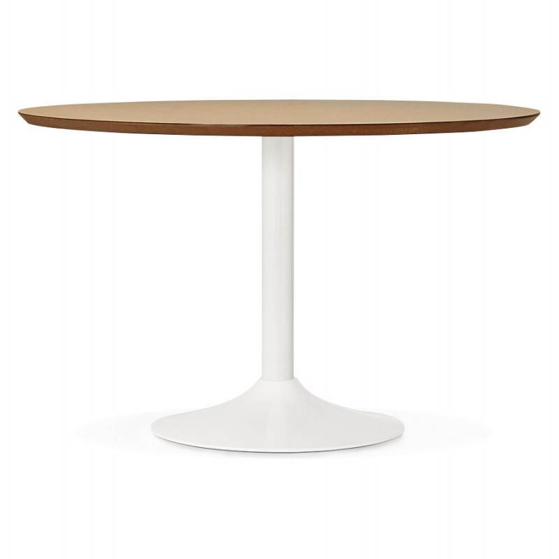 Dining table round design Scandinavian STRIPE in wood and painted metal (Ø 120 cm) (natural, white) - image 28094