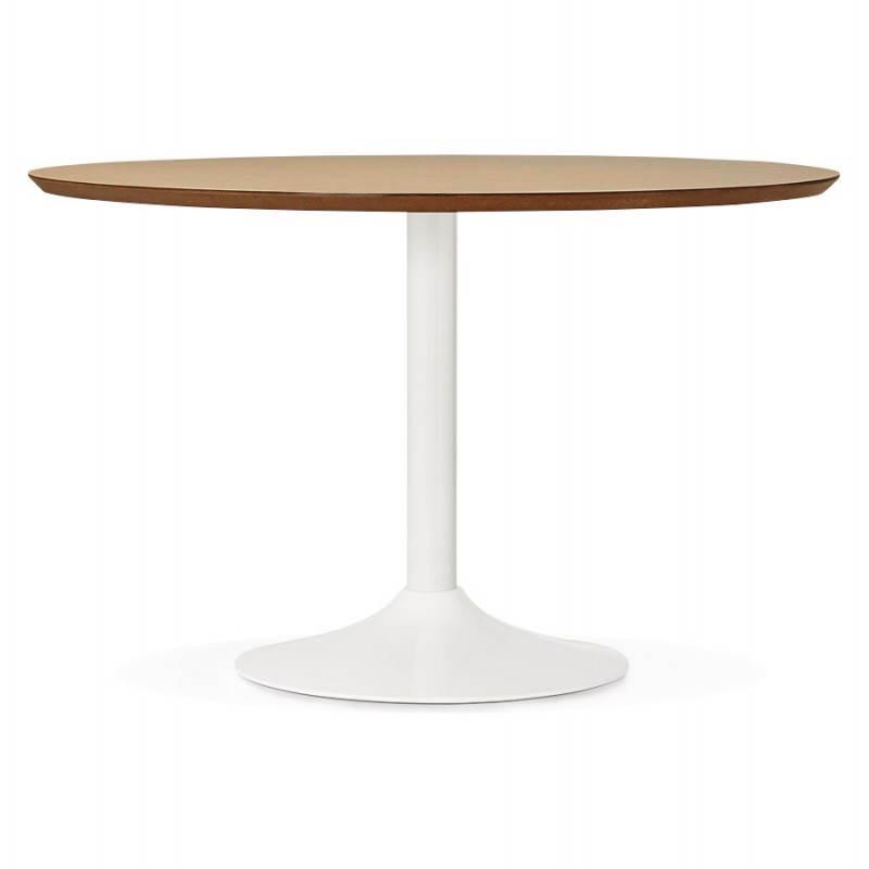 Table de repas ronde design scandinave GALON en bois et métal peint (Ø 120 cm) (naturel, blanc) - image 28094