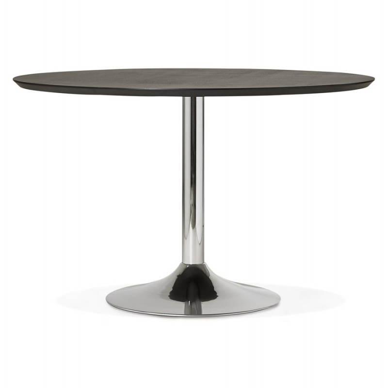 Table de repas design ronde GALON en bois et métal chromé (Ø 120 cm) (noir, métal chromé) - image 28156