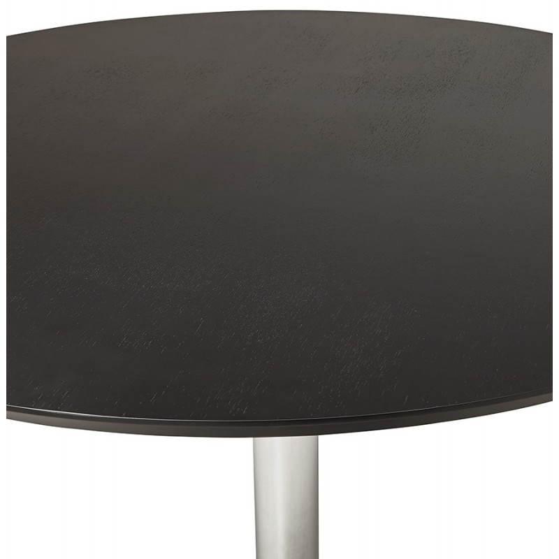 Table de repas design ronde GALON en bois et métal chromé (Ø 120 cm) (noir, métal chromé) - image 28159