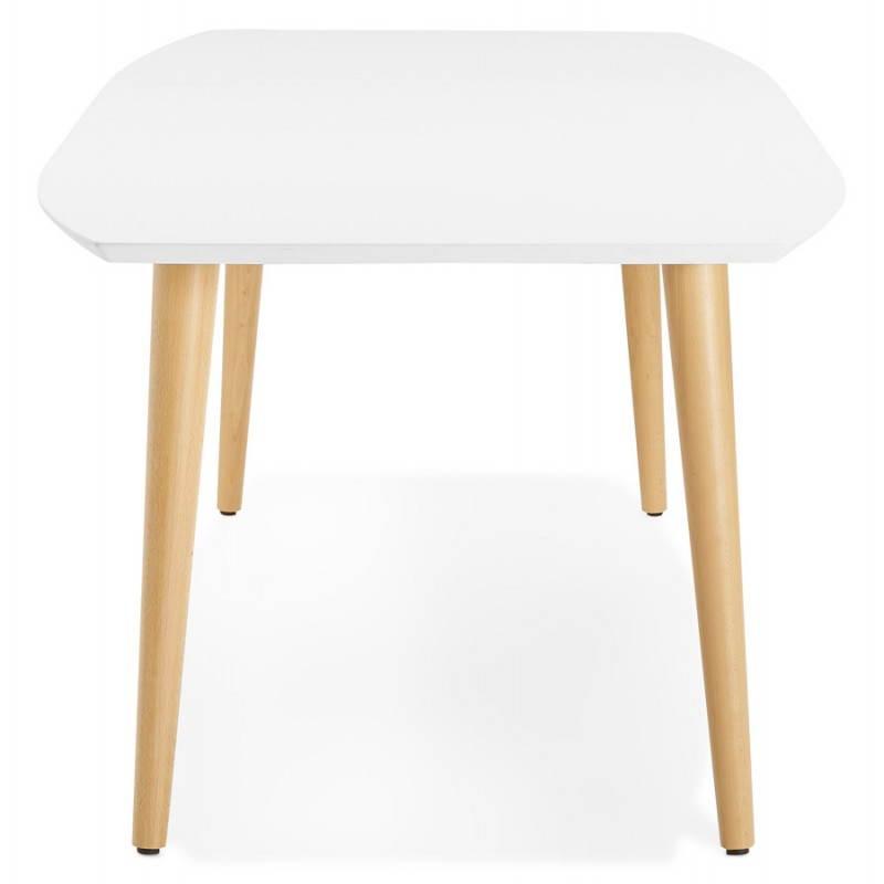 Table à manger style scandinave avec rallonges TRINE en bois (170/270cmX100cmX74,8cm) (blanc) - image 28178