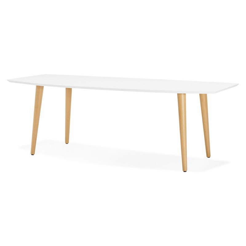 Table manger style scandinave avec rallonges trine en for Table scandinave blanc