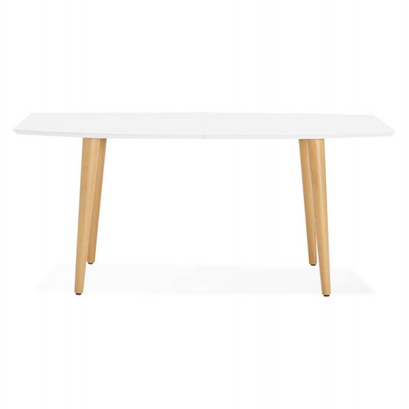 Table à manger style scandinave avec rallonges TRINE en bois (170/270cmX100cmX74,8cm) (blanc) - image 28185