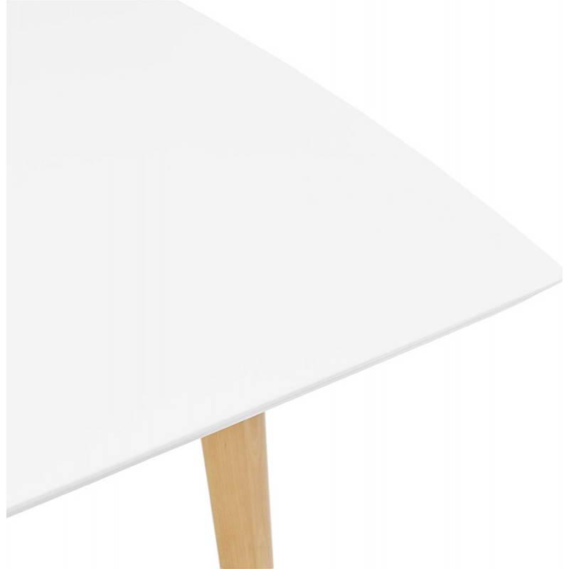 Table en bois blanc avec rallonge for Table ronde bois blanc avec rallonge