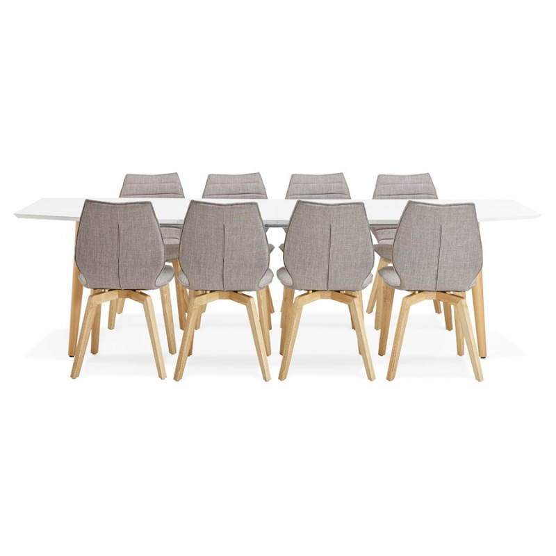 Table à manger style scandinave avec rallonges TRINE en bois (170/270cmX100cmX74,8cm) (blanc) - image 28200