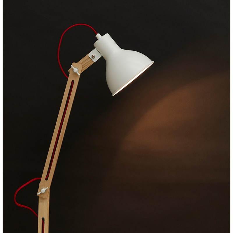 Lampada da terra design LOFT in metallo e legno (naturale, bianco) - image 28221