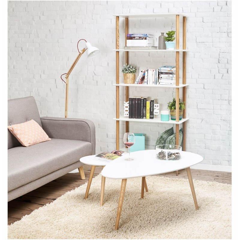 Lampada da terra design LOFT in metallo e legno (naturale, bianco) - image 28222
