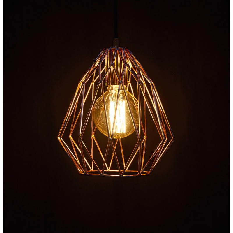 Hanging moss vintage metal copper lamp - Lampe suspension vintage ...
