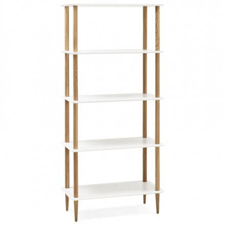 Shelf design bookcase style Scandinavian ERIKA wooden (white)