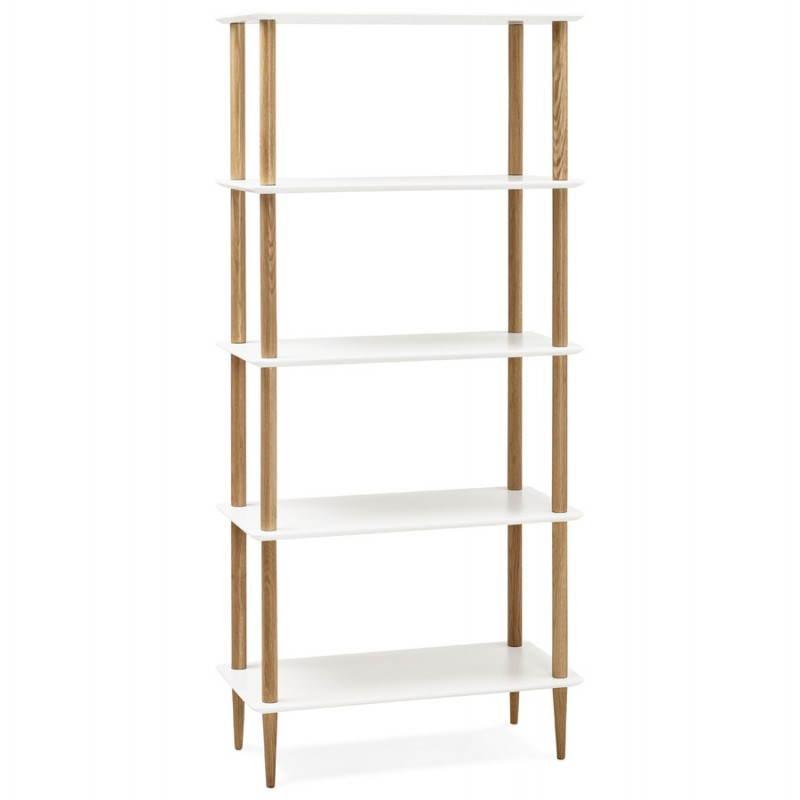 Etagère bibliothèque design style scandinave ERIKA en bois (blanc)