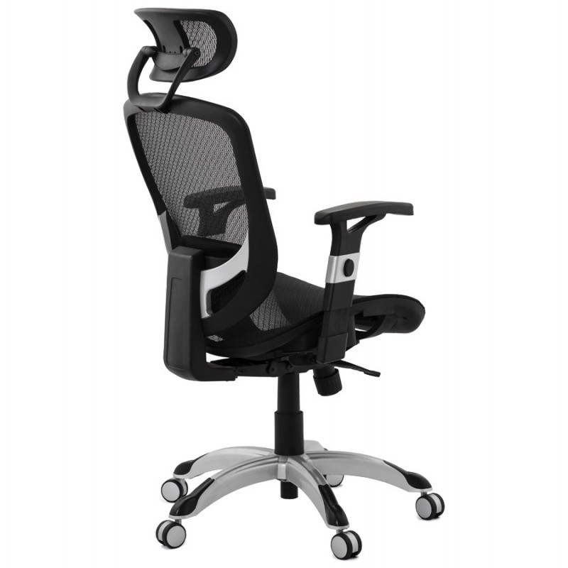 Fauteuil de bureau design et moderne ergonomique AXEL en tissu (noir) - image 28311