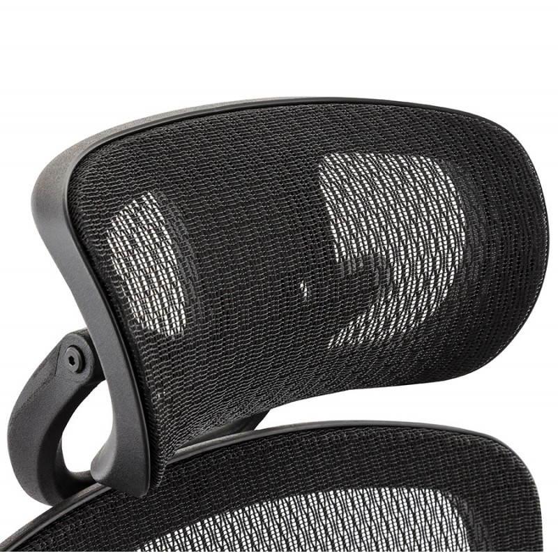 Fauteuil de bureau design et moderne ergonomique AXEL en tissu (noir) - image 28317