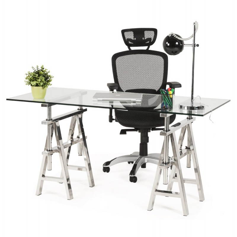 Fauteuil de bureau design et moderne ergonomique AXEL en tissu (noir) - image 28328