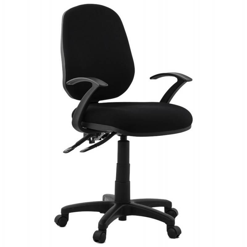 Chaise de bureau ergonomique à roulettes BELOU en tissu (noir)