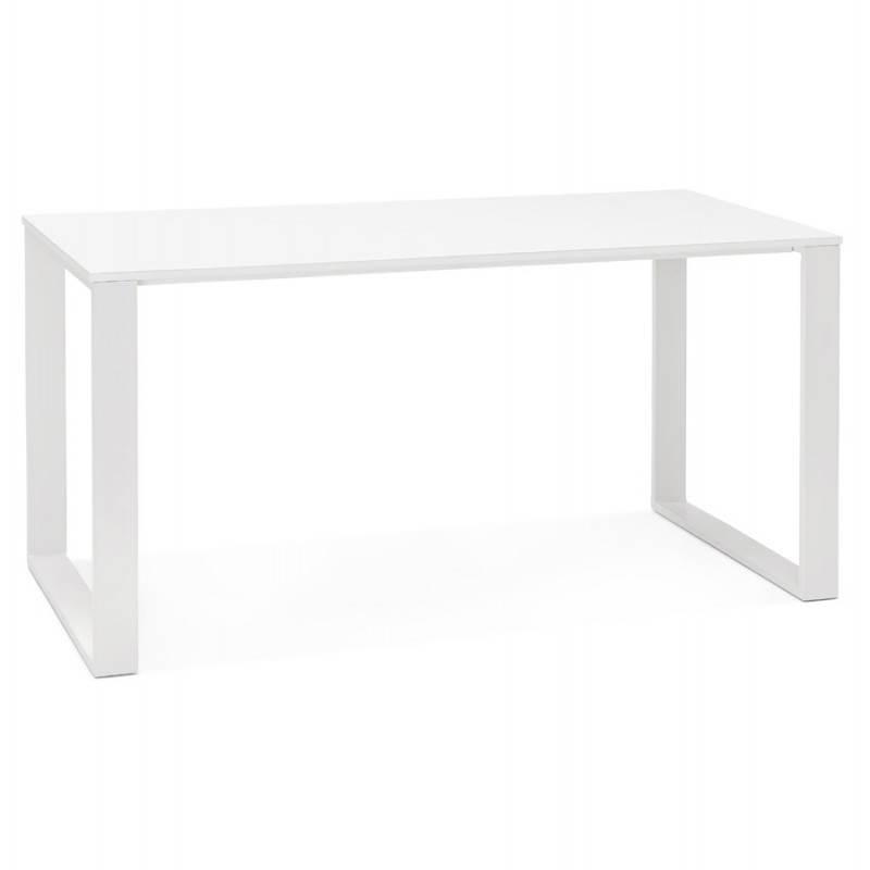 Bureau droit design ANTOUL en bois et métal (blanc brillant) - image 28346