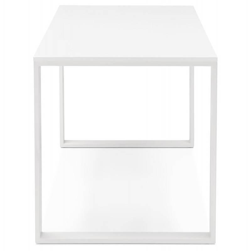 Bureau droit design ANTOUL en bois et métal (blanc brillant) - image 28348