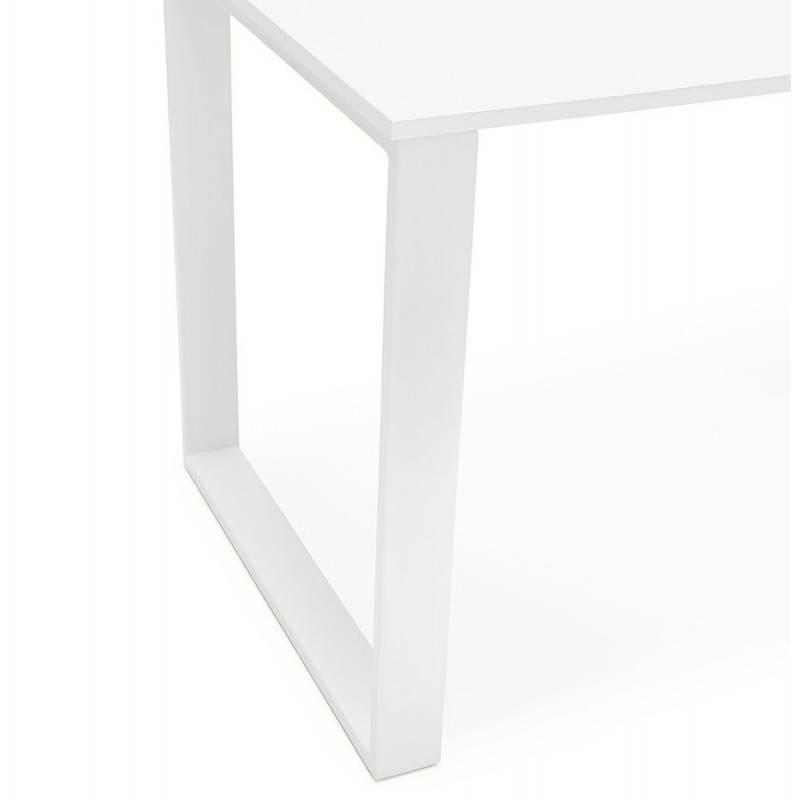 Bureau droit design ANTOUL en bois et métal (blanc brillant) - image 28351