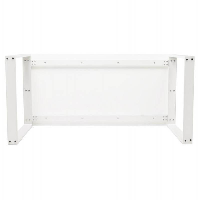 Bureau droit design ANTOUL en bois et métal (blanc brillant) - image 28354