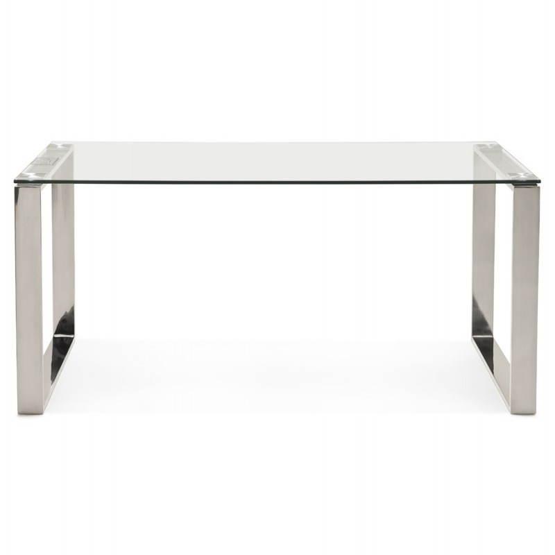 Bureau droit table design et contemporain INGRID en verre et acier chromé (transparent) - image 28360
