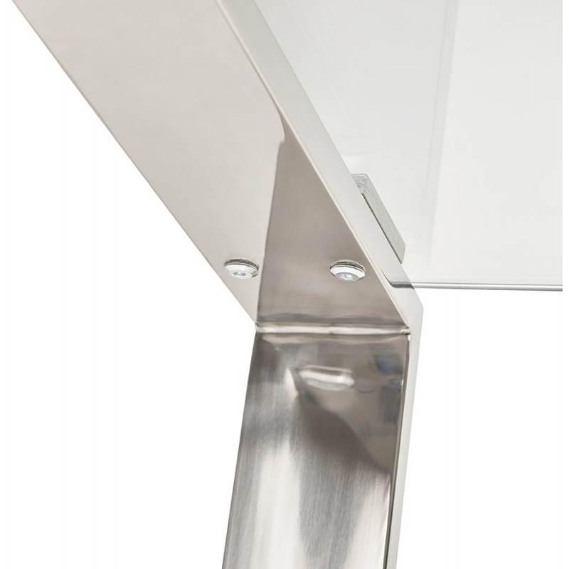 Bureau droit table design et contemporain INGRID en verre et acier chromé (transparent) - image 28366