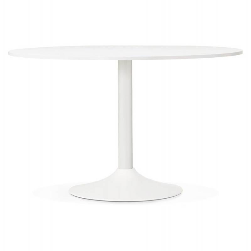 Table de bureau ou repas design ronde asta en bois et m tal peint 120 cm blanc for Table de bureau design