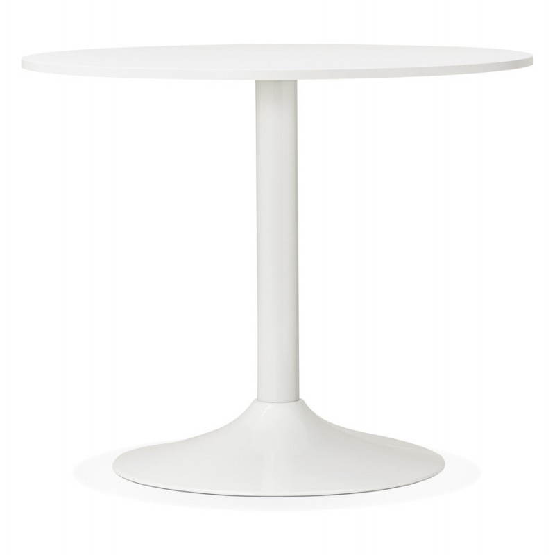 Table de repas ou bureau ronde design scandinave NILS en bois et métal peint (Ø 90 cm) (blanc) - image 28382