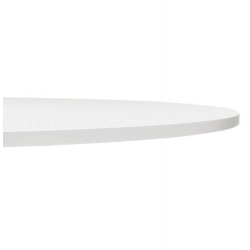 Table de repas ou bureau ronde design scandinave NILS en bois et métal peint (Ø 90 cm) (blanc) - image 28386