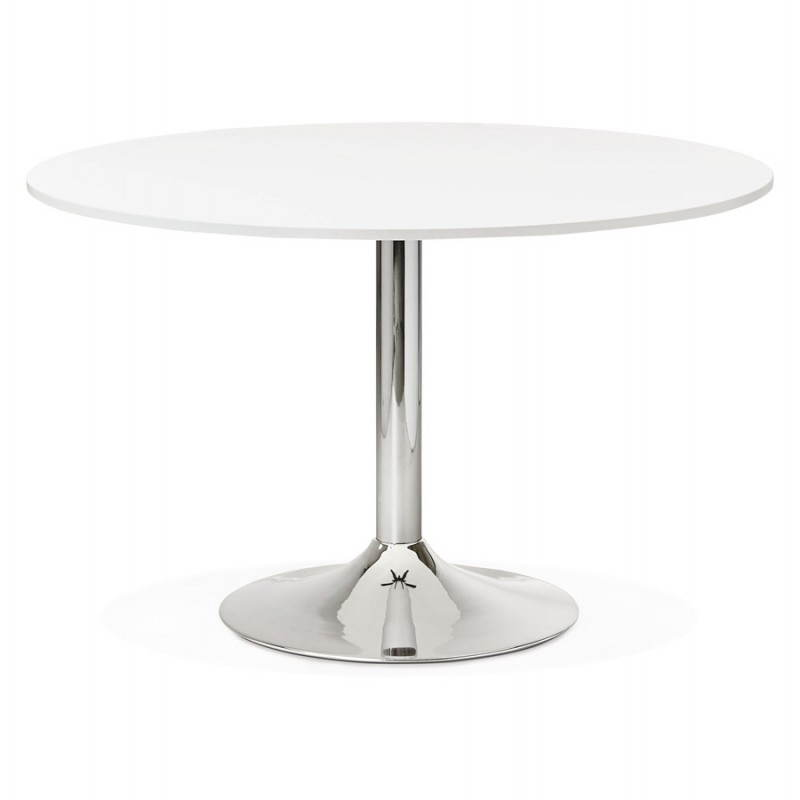 Table de bureau ou repas design ronde ASTA en bois et métal chromé (Ø 120 cm) (blanc) - image 28415