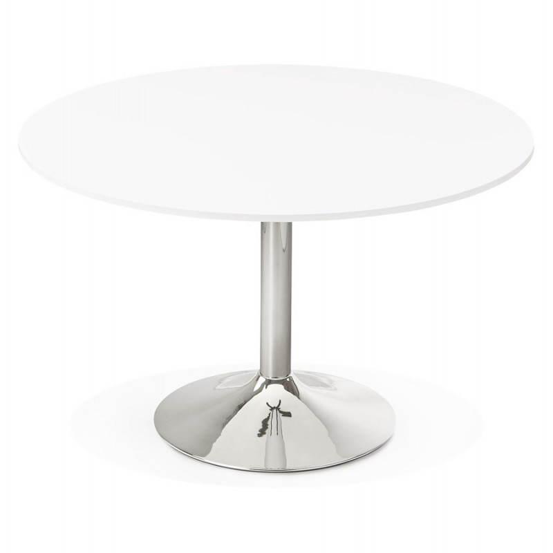 Table de bureau ou repas design ronde ASTA en bois et métal chromé (Ø 120 cm) (blanc) - image 28417