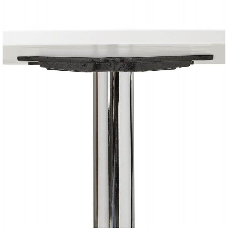Table de bureau ou repas design ronde asta en bois et m tal chrom 120 cm blanc for Table de bureau design