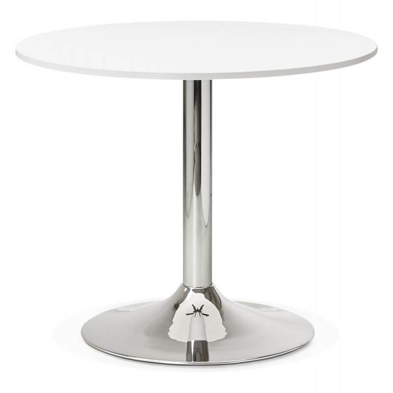 Table de repas ou bureau ronde design NILS en bois et métal chromé (Ø 90 cm) (blanc)