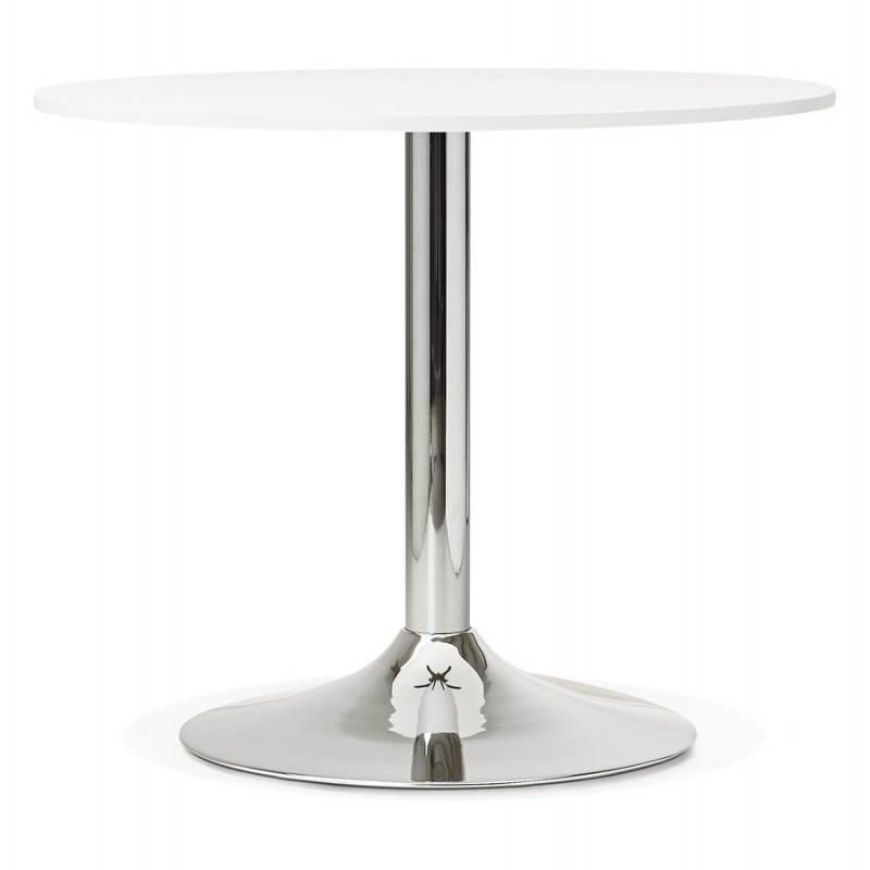 Mesa de comedor o mesa redonda diseño madera NILS y metal cromado (O ...