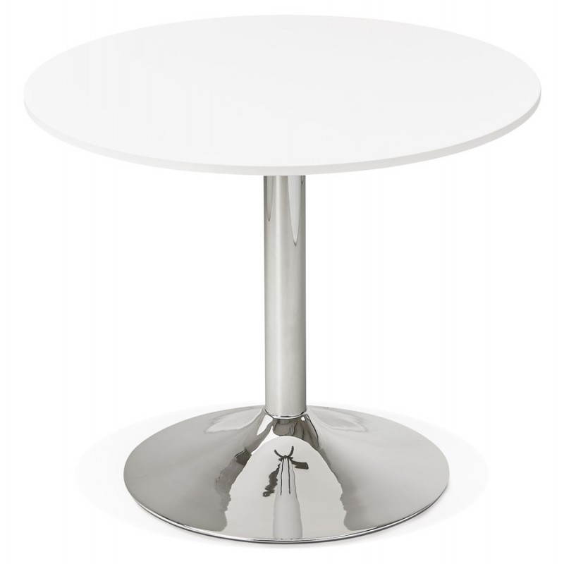 Dining table or desk round design NILS wood and metal chrome (O 90 cm) (white) - image 28427