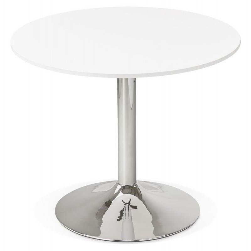 Table de repas ou bureau ronde design NILS en bois et métal chromé (Ø 90 cm) (blanc) - image 28427