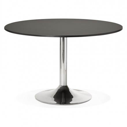 Office table or round design meal ASTA in wood and metal chrome (Ø 120 cm) (black)